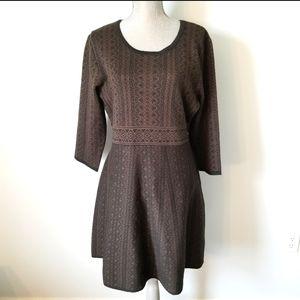 Nina Leonard geo print knit fit and flare dress